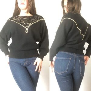 Vintage Black and Gold Rose Embroidered Sweater